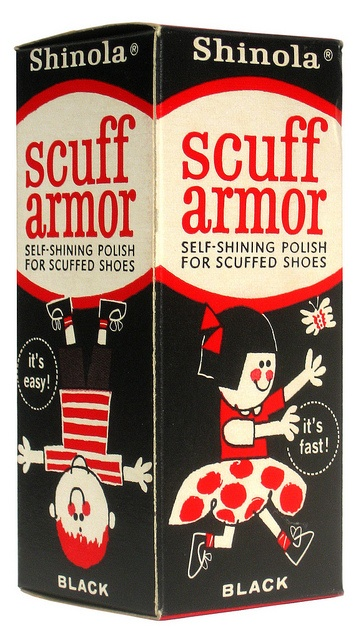 Vintage box design for Shinola brand Scuff Armor shoe polish - late 50's to early 60's.