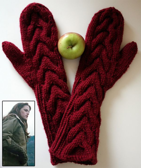 """Free Knitting Pattern for Twilight - Bella's Mittens - Marielle Henault's long cabled mittens are inspired by the mittens worn by Kristen Stewart as Bella in the movies """"Twilight"""" and """"New Moon"""".. Pictured project by VikkiBirdDesigns"""