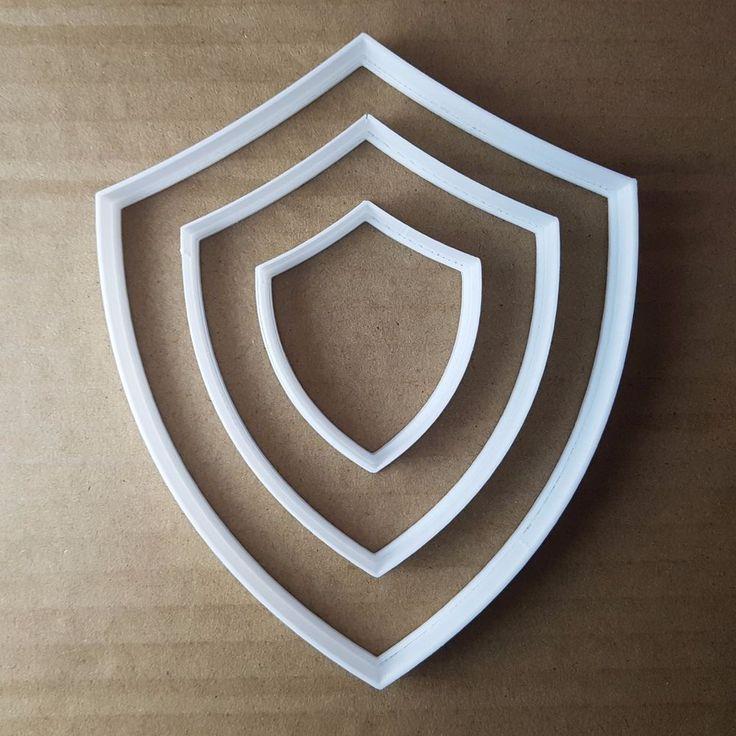Shield Shape Cutter. Medium: approx. 7.9cm x 9.5cm x 1cm deep -0.5mm cutting edge. Small: approx. 4.8cm x 5.8cm x 1cm deep - 0.5mm cutting edge. Large: approx. 11.1cm x 13.5cm x 1cm deep -1mm cutting edge. | eBay!