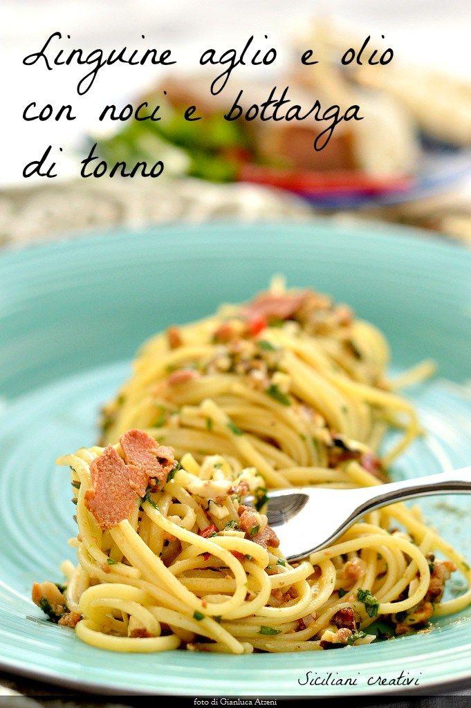 Linguine aglio e olio con noci e bottarga