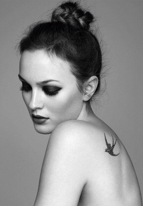 Leighton Meester high bun: Birds Tattoo, Mary Claire, Tattoo Patterns, A Tattoo, Shoulder Tattoo, Swallows Tattoo, Leighton Meester, Shouldertattoo, Gossip Girls