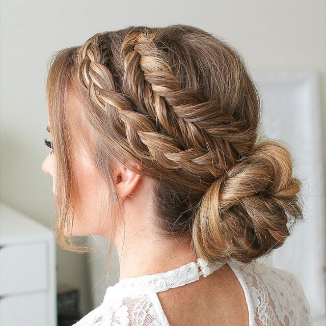 Triple French Braid Double Waterfall Mini Bun | MISSY SUE