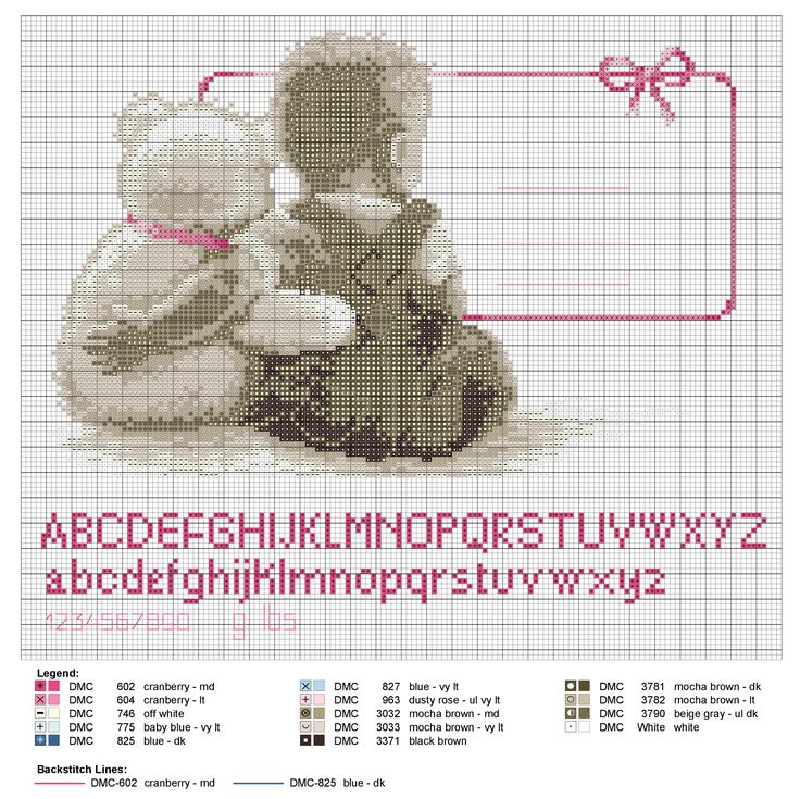 Birth sampler My Favorite Teddy for boy or girl
