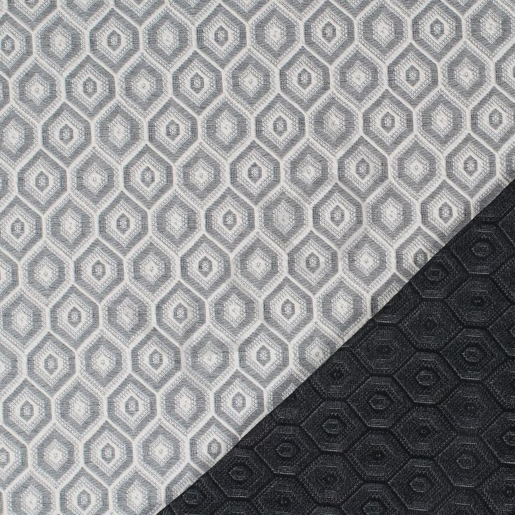 Punto, jaquard antracit/råhvid sekskantet mønster