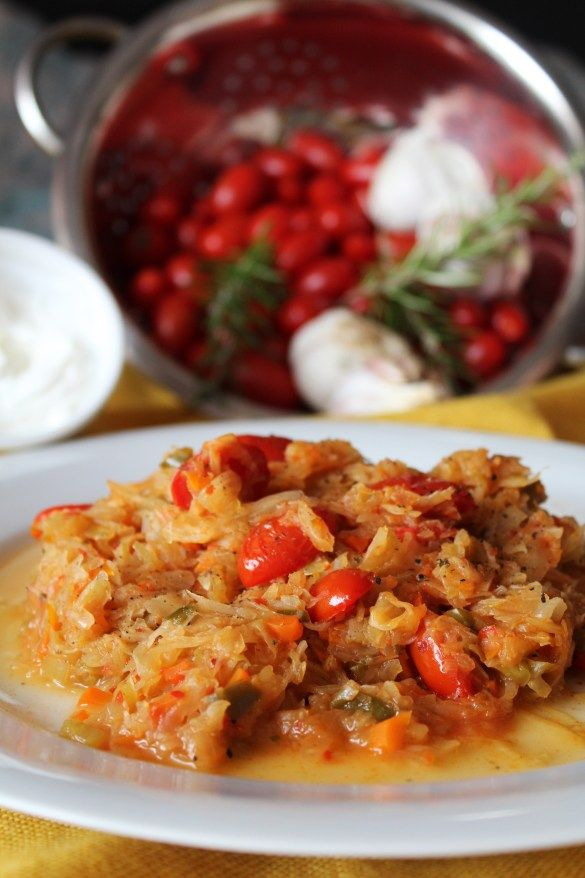 Cabbage with Peppers & Cherry Tomatoes
