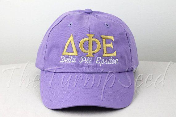 Delta Phi Epsilon Sorority Baseball Cap - Custom Color Hat and Embroidery.