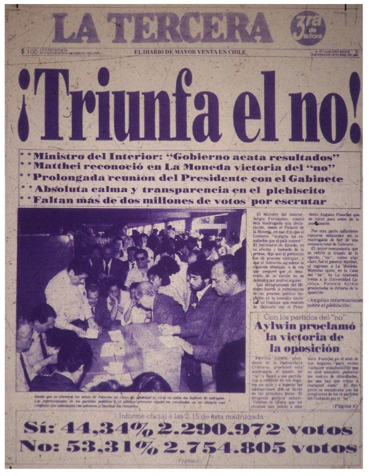 Newspaper from the time announcing the 'No' win.