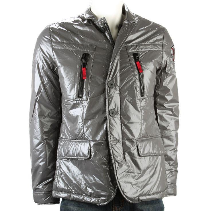 Ed Hardy Mens Death Or Glory Puffer Jacket -Grey