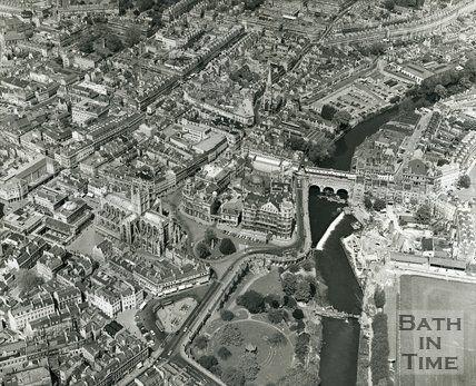 1970 Aerial view of Bath city centre, June