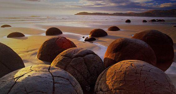 Moeraki, New Zealand These large, round stones with ...