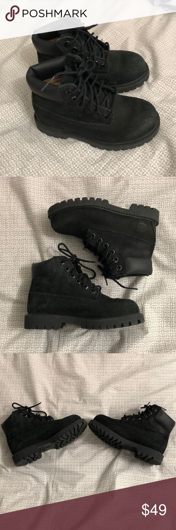 Timberland black boots for kids size 9.5 almost like new good condition only used 2 time Timberland Shoes Boots