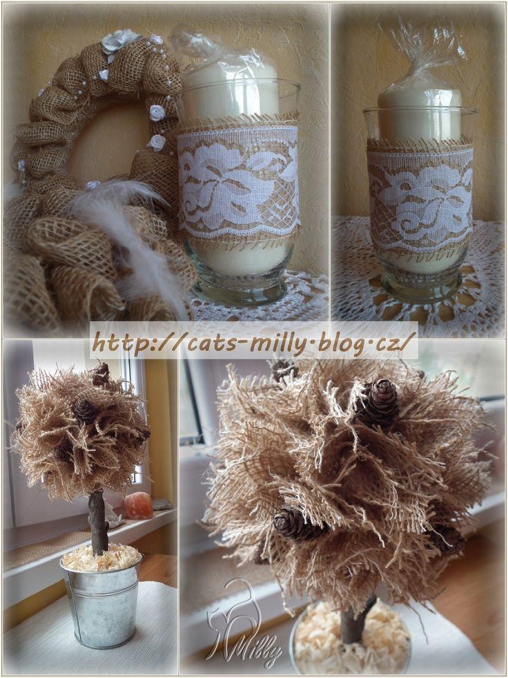 burlap, lace, candlestick, tree