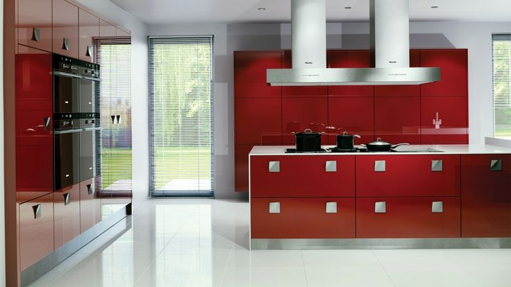 Kitchen : Fashionable Red Kitchen Design Also Modern Kitchen Island With Red Base Red Kitchen Cabinets And Red High Kitchen Cabinets With Baker And Microwave Besides Kitchen Decoration Design Kitchen In Color Themes Colorful Kitchen Modern Kitchen Decoration for Home Part 3 White Kitchen. Contemporary Kitchens. Kitchen Island.