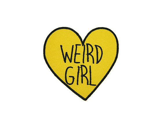 WEIRD GIRL Candy Heart Patch – Made with Vegan Iron-On Adhesive – Embroidery Sewing DIY Customise Feminist Sassy Yellow Tumblr Love Hearts