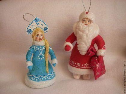 Дед Мороз и Снегурочка - новый год,новогодний подарок,дедушка мороз,ватная игрушка