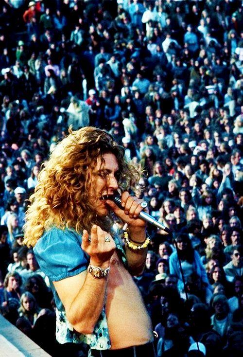 Robert Plant on stage at Kezar Stadium in San Francisco, 1973.