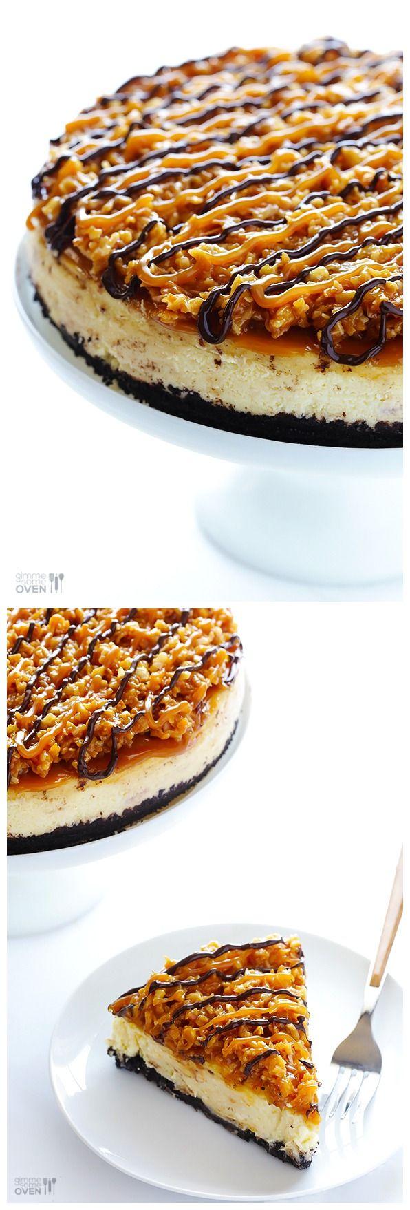 SAMOA CHEESECAKE http://www.recipenatural.com/samoa-cheesecake/