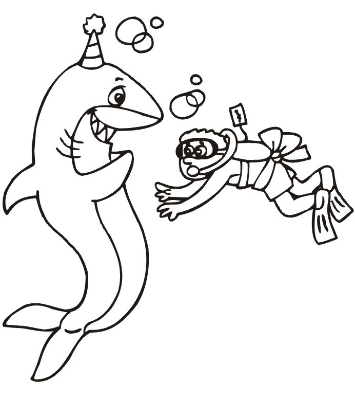 birthday shark coloring page - Coloring Pages Sharks Print