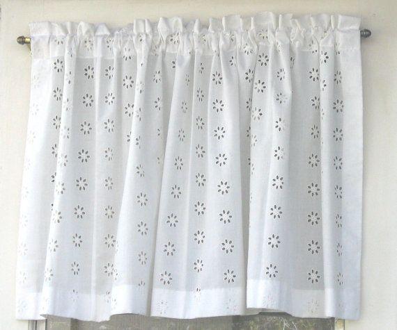 Vintage Eyelet Curtain Panel White Eyelet Shabby by WhatGirlsLike,