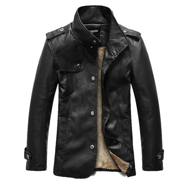 14 slim stand collar leather jacket male velvet genuine leather clothing PU men spring winter outdoor long motorcycle coat