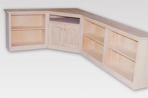 Custom Wood Maple Corner Entertainment Center with Bookcases