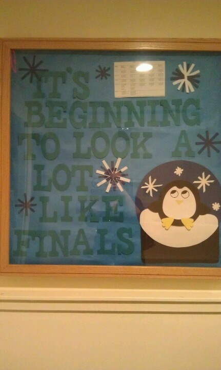 RA finals information bulletin board. Residence Life. Resident assistant. With finals week schedule