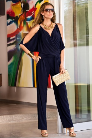 Cold-shoulder pantsuit - Boston Proper