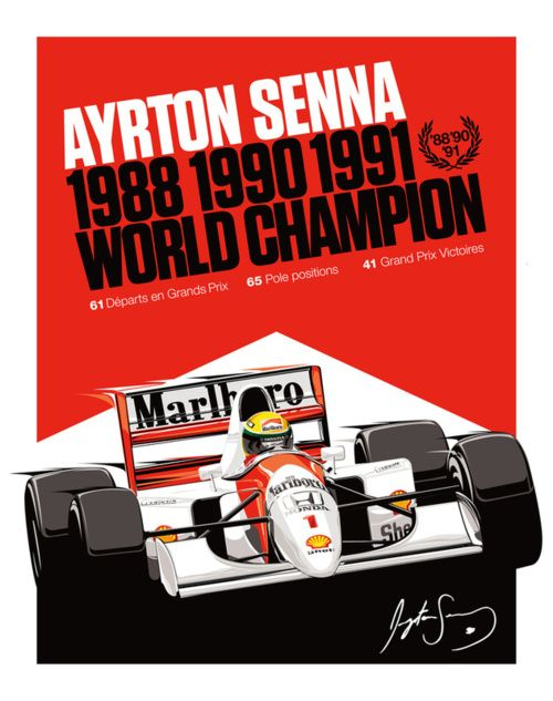 Ayrton Senna 1988, 1990, 1991 World Champion PosterSenna