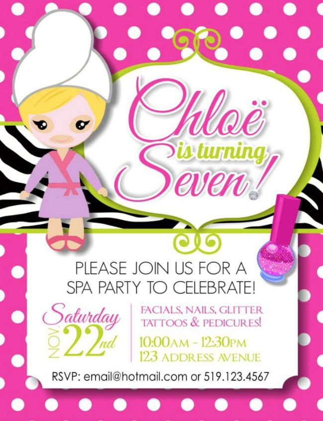 28 best images about invites – Little Girl Spa Party Invitations