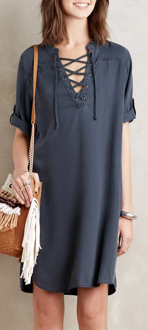 Short Sleeve Above Knee Casual Dress This knee length casual dress exudes a relaxed air that is expected of the fashion style. View more at foryday.com