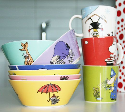 Moomin cups and plates from Finland. Love them :)