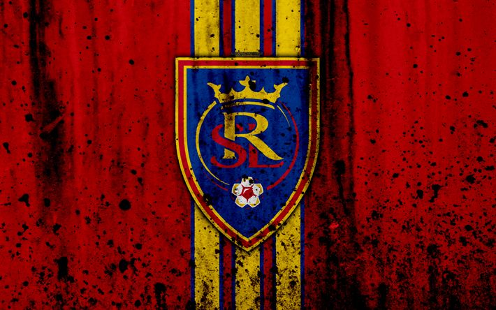 Download wallpapers 4k, FC Real Salt Lake, grunge, MLS, soccer, Western Conference, football club, USA, Real Salt Lake, logo, stone texture, Real Salt Lake FC