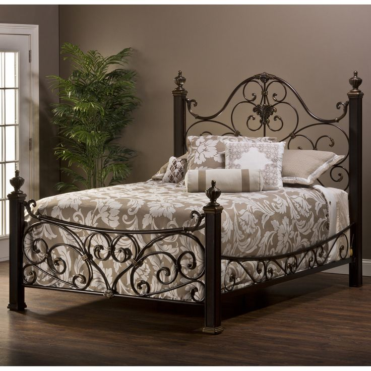 mikelson mixed wood u0026 iron bed by hillsdale furniture