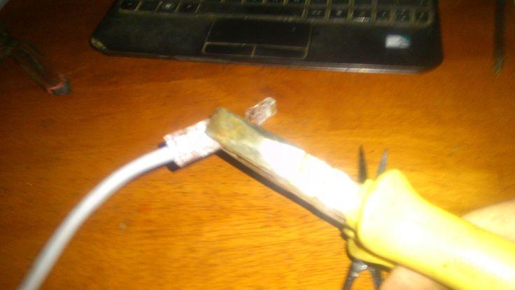 tutorial como hacer un cable largo de red sin tener pinza ponchadora