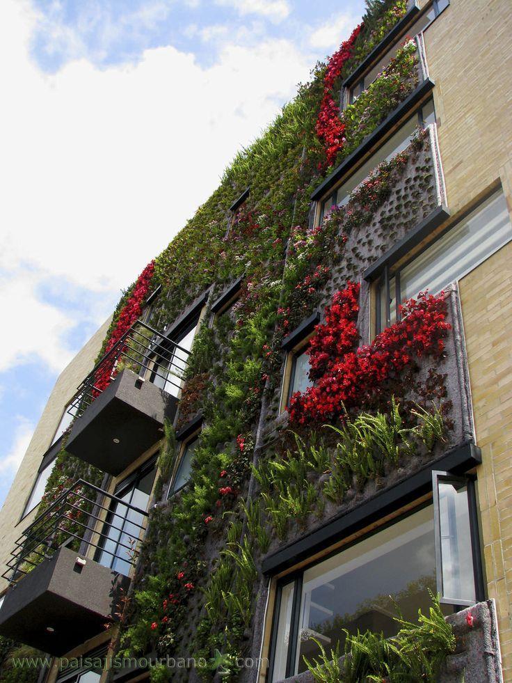 Fachada vegetal de exteriores / termolacado / vegetal - JARDIN VERTICAL ECOHOUSE OF BOGOTA - Paisajismo Urbano