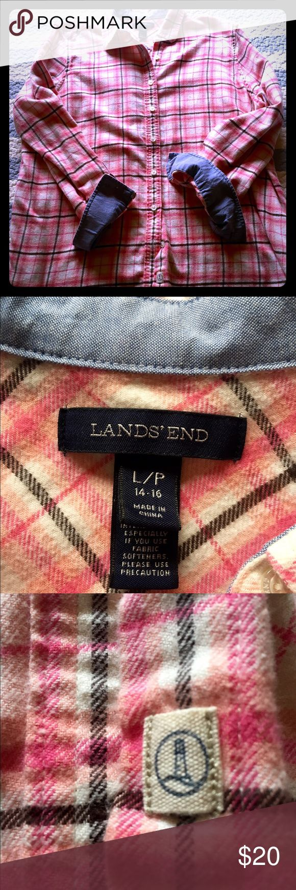 Lands End flannel LP shirt with denim accent 100% cotton flannel shirt pink and black with denim fabric on cuffs and collar. Super comfortable and cozy! Great for fall. Size 14-16!large petite Lands' End Tops Button Down Shirts