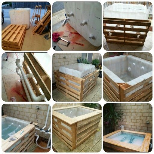 Diy plunge pool a few pallets a water storage container a water pump from an old jacuzzi and - Swimmingpool aus paletten ...