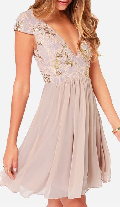 Bariano Sabina Beige Sequin Dress