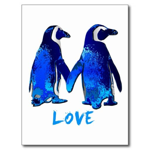 Penguins Holding Hands Love Design Postcard