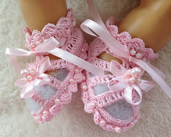 Pink Crochet Baby Booties with Beads