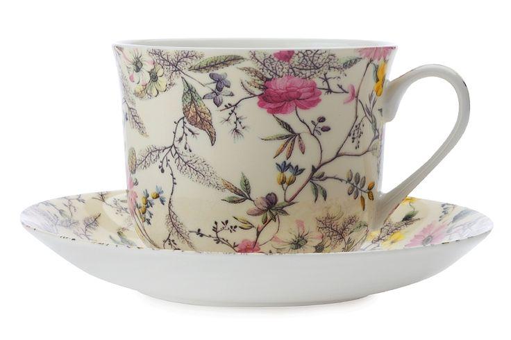 Чашка с блюдцем из костяного фарфора «Летние цветы» в подарочной упаковке      Бренд: Maxwell & Williams (Австралия);   Страна производства: Китай;   Материал: костяной фарфор;   Объем чашки: 480 мл;          #bonechine #chine #diningset #teaset #костяной #фарфор #обеденный #сервиз #посуда  #обеденныйсервиз #чайныйсервиз #чайный  #чашка #кружка #набор #сервировка #cup #mug #set #serving #tea #чай