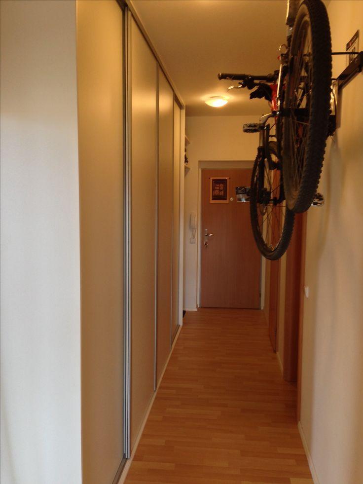 Wardrobe corridor sliding doors bike holder
