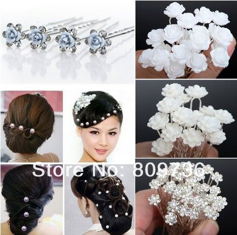 Wholesale 20/40PCS Wedding Bridal Pearl Hair Pins Flower Crystal Hair Clips Bridesmaid Jewelry 5 Styles U Pick Free Shipping