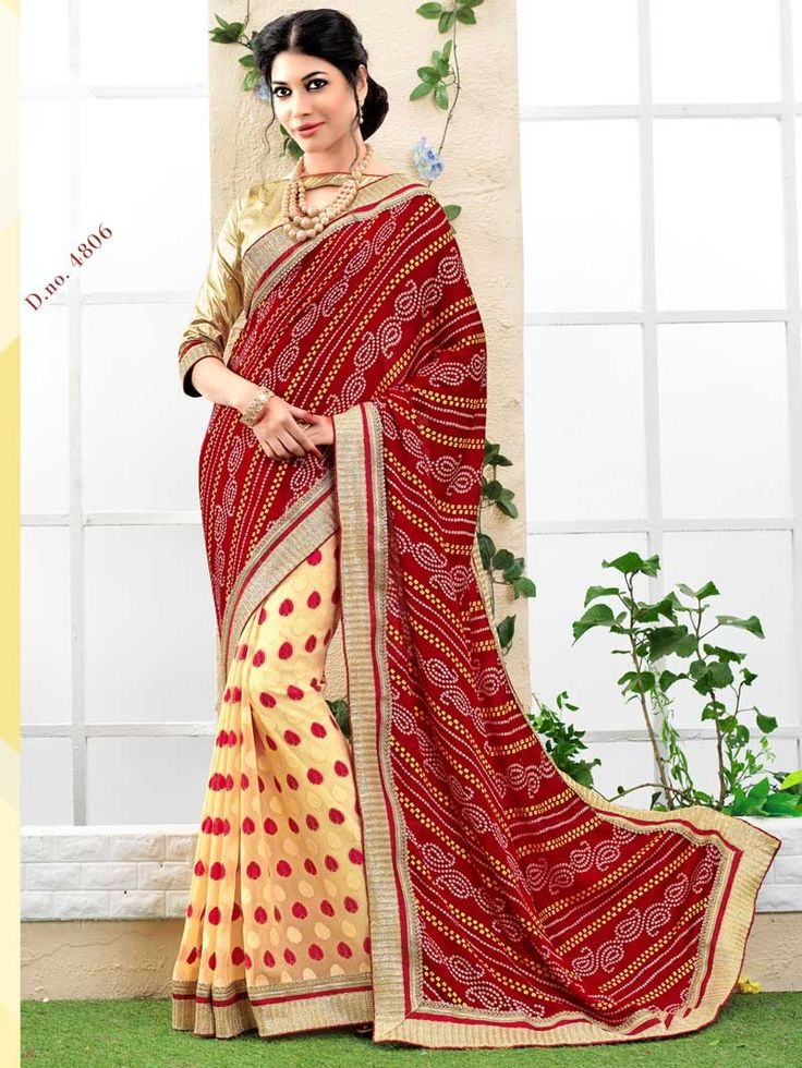 Cream with Red Bandhej Print Embroidered Bandhni Saree