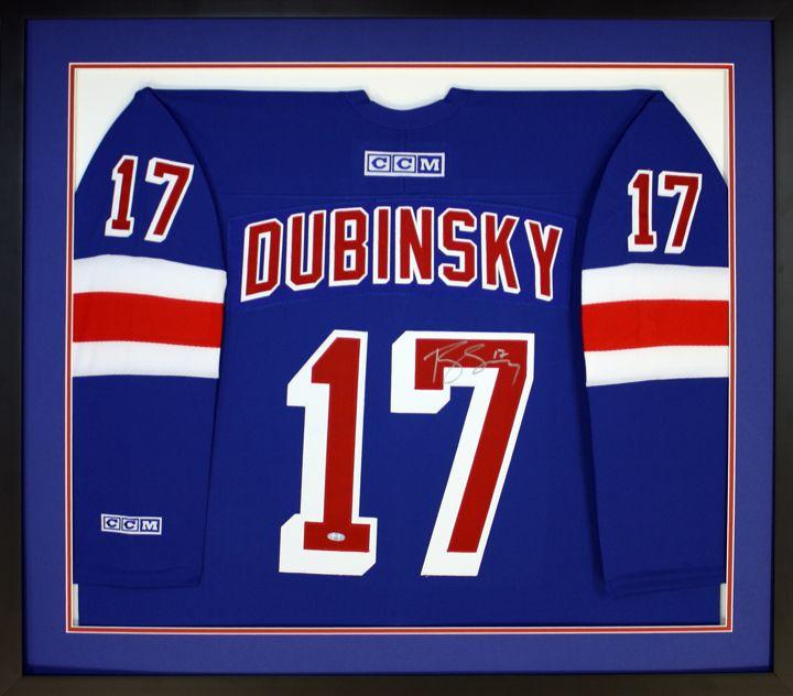 dubinsky nhl hockey jersey custom framed in a shadow box custom frame design by art