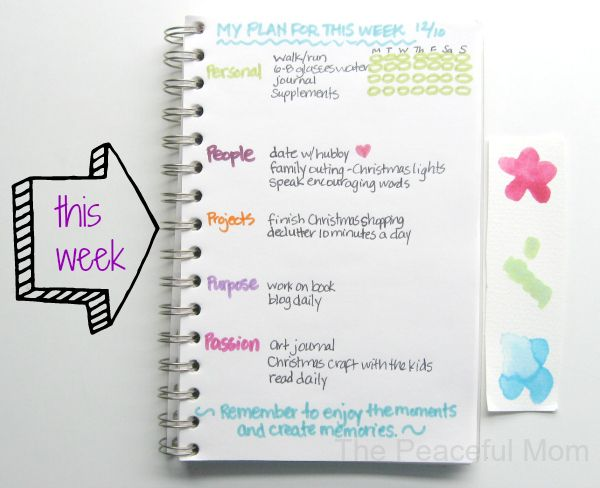 Weekly planner that is about living a purposeful life