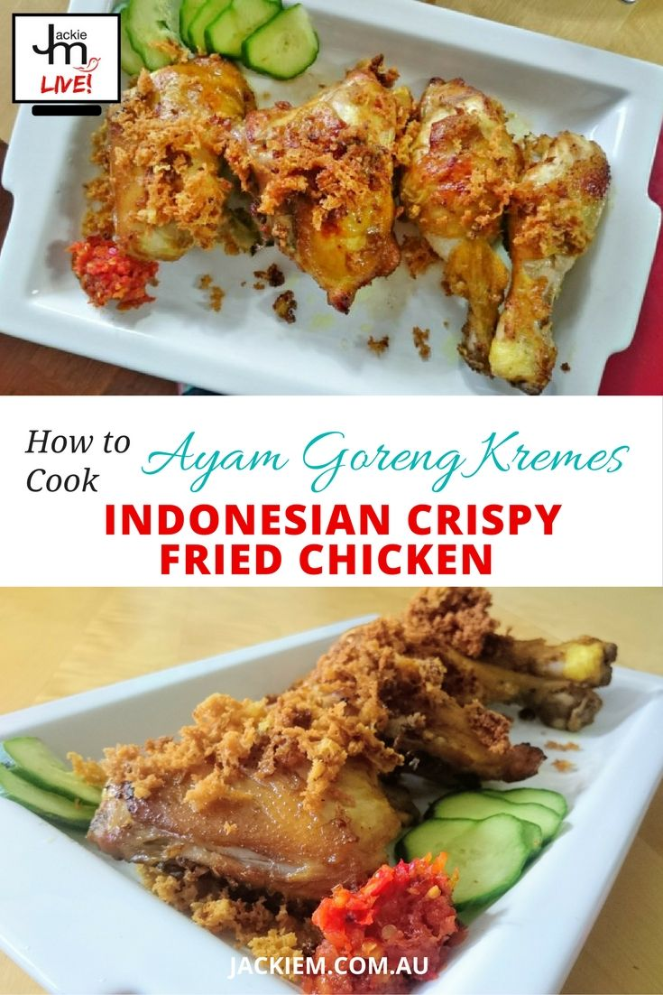Full recipe and replay to Jackie M's Live Asian Kitchen broadcast featuring the Indonesian version of crispy fried chicken.