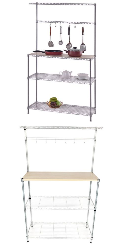 Bakers Racks 20482 4tier 6 Hook Kitchen Baker S Rack Microwave