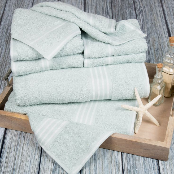Lavish Home Rio 8 Piece Egyptian Cotton Towel Set - An understated stripe detail and a wide variety of color options make this Lavish Home Rio 8 Piece Egyptian Cotton Towel Set perfect for introducing...