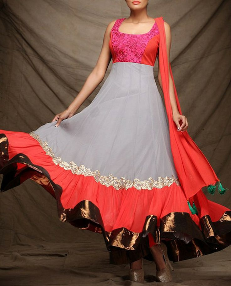Exclusively.In  Smokey Gray Anarkali Suit with Embroidery